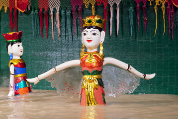 SAIGON, VIETNAM - JANUARY 05, 2015 - Traditional water puppet theater