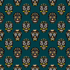 Cute kids pattern for girls and boys. Colorful skull, eyes on the abstract grunge background create a fun cartoon drawing.The background is made in red colors.Urban backdrop for textile and fabric