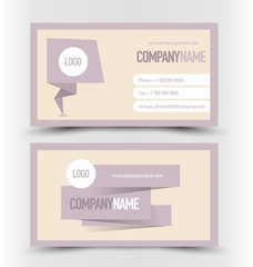 Business card set template. Banner design. Purple color. Corporate identity vector illustration.