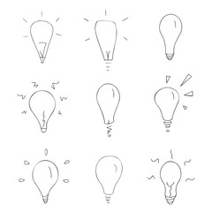 Set of nine abstract symbols of lamps, ideas, line art, black outline vector sign, collection of icons, isolated elements, objects on the white background