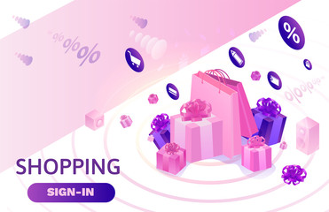 Isometric sale design, online offer concept for ecommerce discount campaign, cyber monday or black friday landing page template, 3d vector illustration with violet box, people purchasing gifts