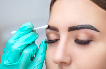 makeup artist applies paint henna on eyebrows in a beauty salon. Professional care for face.