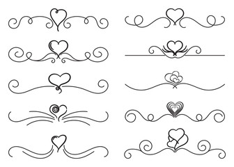 Swirls thin line set with hearts. Decorative elements for frames. Elegant swirl vector illustration.