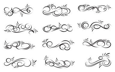 Swirl decoration dividers isolated on white background. Decorative elements for frames. Vector illustration.