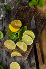 Fresh lime and lemons, ready to serve in drink