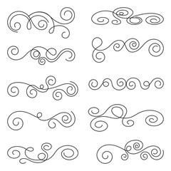 Swirls thin line set. Decorative elements for frames. Elegant swirl vector illustration.