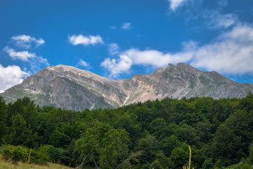 A closer panoramic view of Corno Piccolo from the Gran Sasso mountain chain,Teramo province, Abruzzo region, Italy.