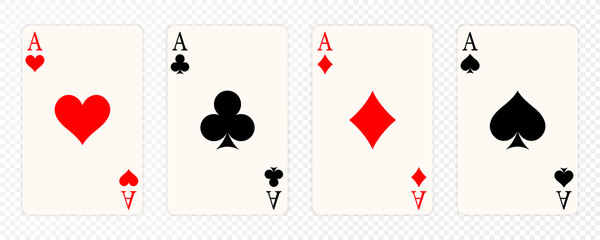 Set of four aces playing cards suits. Winning poker hand. Set of hearts, spades, clubs and diamonds ace