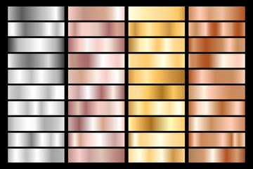 Collection of silver, chrome, gold, rose gold and bronze metallic gradient. Vector illustration