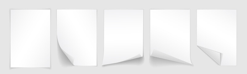 Fototapeta Blank A4 sheet of white paper with curled corner and shadow, template for your design. Set. Vector illustration