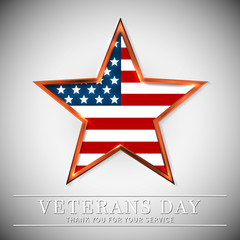 Veterans Day of USA with star in national flag colors american flag. Honoring all who served. Vector illustration