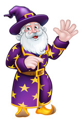 A cute wizard cartoon character pointing and waving