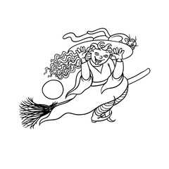 Vector happy girl witch on broom with cat. Children party Halloween. Charmer in pointed hat flying and build faces. Black white illustration cheerful humorous young magician and pet to all saints day.
