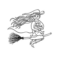 Halloween good girl witch on broom with white cat. Young magician and pet to all saints day. Vector black white sketch illustration pretty charmers in pointed hat flying