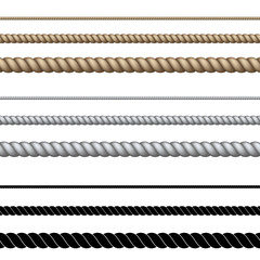 Set of different ropes on white background.