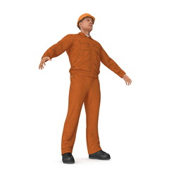 Factory Worker In Orange Overalls With Hardhat Isolated On White Background. 3D Illustration