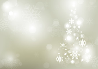 Abstract Bokeh Winter Background with a Shaped Christmas Tree Formed from Snowflakes - Colored Illustration, Vector