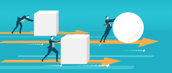 Business people pushing cubes. The winner with ball comes to the finish first.  Business concept illustration