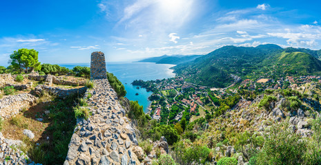 View of Cefalu and Promontorio de Torre Caldura seen from Norman Castle, La Rocca park, Sicily island, Italy