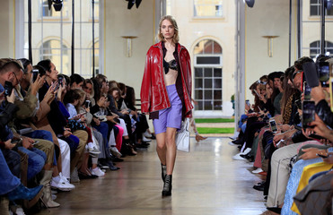 A model presents a creation by designer Sophie Albou as part of her Spring/Summer 2019 women's ready-to-wear collection show for fashion house Paul & Joe during Paris Fashion Week in Paris