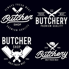 Butcher shop labels badges emblems set. Butchery store advertising design elements collection. Meat shop typography.