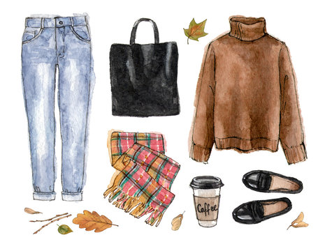 watercolor sketch casual autumn outfit. hand painting fashion illustration. set of isolated elements.