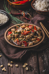 Spoed Fotobehang Grill / Barbecue Homemade kung pao chicken stir fry food
