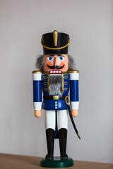 Handmade wooden Nutcracker Figurine - Soldier in blue Uniform, a typical Christmas Decoration