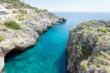 Apulia, Leuca, Grotto of Ciolo - An overwhelming view upon the famous grotto