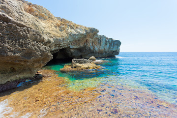 Apulia, Grotto Verde - Turquoise water at the coastline of Grotto Verde