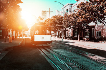 Cable car in San Franciso, USA Wall mural