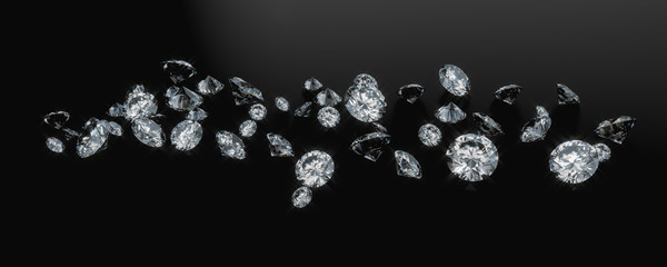 Diamond Group Placed On Dark Background, 3D Rendering