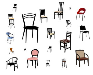 Set of chairs isolated