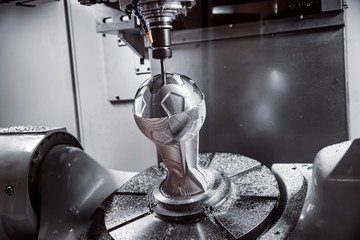 Recess Fitting Vintage cars Metalworking CNC milling machine. Cutting metal modern processing technology.