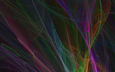 multicolors abstract laser strokes on black background