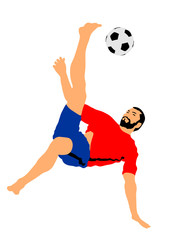 Sand soccer player vector illustration isolated on white. Scissor moves in football game. Beach attraction. Summer fun with ball. Effective move in football. Spectacle for public. Sport man.