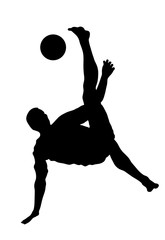 Sand soccer player vector silhouette isolated on white background. Scissor moves in football game. Beach attraction. Summer fun with ball. Effective move in football. Spectacle for public. Sport man.