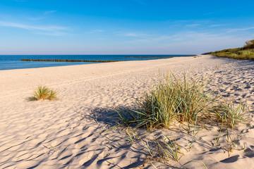 Grass, white sand and beautiful beach. Baltic Sea. Poland