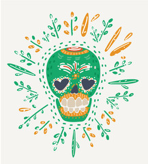 Hipster Day of the Dead Skull.