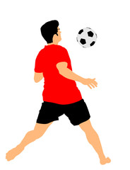 Sand soccer player vector illustration isolated on white background. Receiving ball, football game. Beach attraction. Summer fun with ball. Effective move in football. Spectacle for public. Sport man