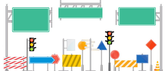 Vector traffic road signs and lights.