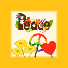 Bright vector card template with hippie style peace and peace symbols