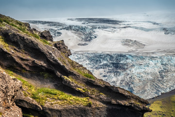 View of the Myrdalsjokull glacier , covering the active volcano Katla, Thorsmork, Highlands at the southern end of the famous Laugavegur hiking trail.