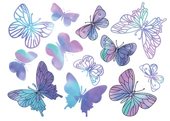 PURPLE BUTTERFLIES Color Vector Illustration Set for Scrapbooking and Digital Print on Card And Photo Children's Albums