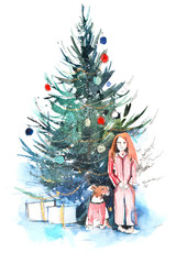 Little girl near christmas tree. New year, xmas celebration. Watercolor.