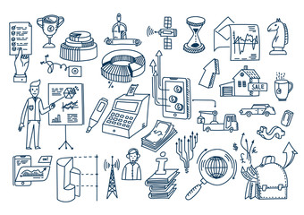 Business doodles Hand drawn vector elements and symbols.