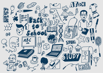 Hand drawn scketchy school supplies doodles Learning and education