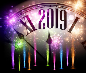 Shiny 2019 New Year background with clock and fireworks.