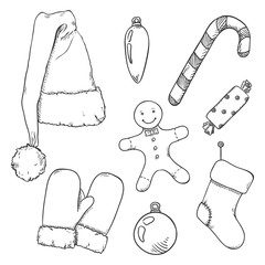 Vector Set of Sketch Christmas Symbols. Clothes and Decorations.