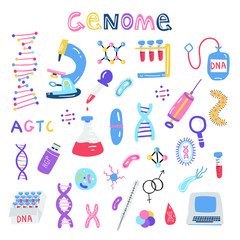 Hand drawn genome sequencing illustration. Human dna research technology symbols.